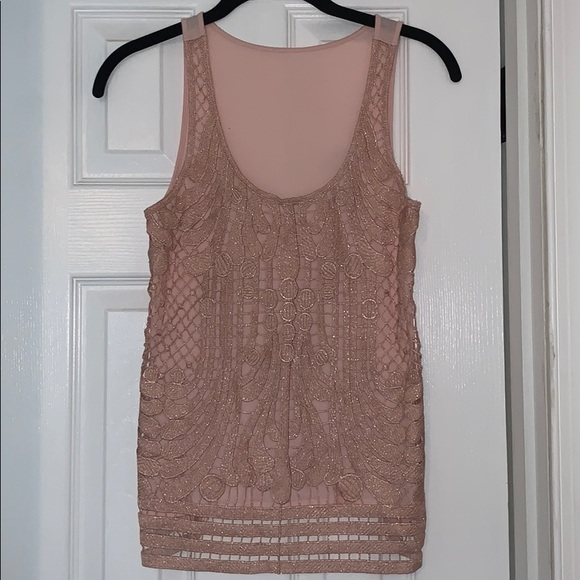 Express Tops - Shimmery tank with lace overlay
